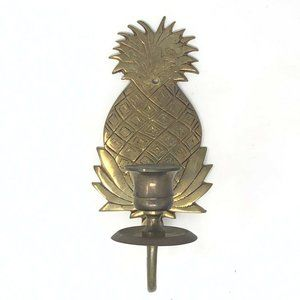 Vintage Brass Pineapple Wall Sconce Tapered Candle